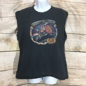 Jelly belly cut off t shirt large grey vintage